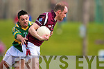 John Smyth West meath and AIdan O'Mahony in Action in the Kerry v Westmeath Allianz National league clash at Austin Stack Park, Tralee on Sunday