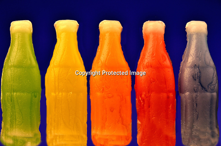 Wax bottles with candy liquid stock photo