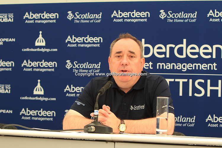 Scotland's First Minister, Alex Salmond MSP during a press conference during the 2013 Aberdeen Asset Management Scottish Open played over Castle Stuart Golf Links, Inverness, Scotland from 11th to 14th July 2013: Picture Stuart Adams www.golftourimages.com: 13th July 2013