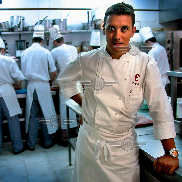 Chef Francis Paniego in the kitchen of the Michelin starred restaurant El Portal de Echaurren.