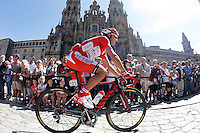 Joaquin Purito Rodriguez passes by the front of the Obradoiro of the Cathedral of Santiago de Compostela before the stage of La Vuelta 2012 between Santiago de Compostela and Ferrol.August 31,2012. (ALTERPHOTOS/Acero)