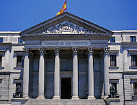 Congreso De Los Diputados, Madrid, Spain. architecture, ionic columns, frieze, relief, relivio, sculpture. Madrid, Spain.