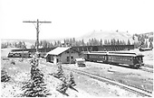 Westbound D&amp;RGW San Juan at Cumbres depot, from behind and a bit above.<br /> D&amp;RGW  Cumbres, CO  Taken by Jackson, Richard B. - 7/11/1939
