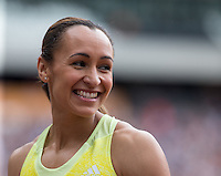 Jessica Ennis-Hill of GBR smiles after running a season best time of 23.49 in the 200m during the Sainsbury's Anniversary Games, Athletics event at the Olympic Park, London, England on 25 July 2015. Photo by Andy Rowland.