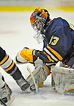 15 February 2008: Merrimack College Warriors' goaltender Andrew Braithwaite, a Sophomore from Kingston, Ontario, makes a save against the University of Vermont Catamounts at Gutterson Fieldhouse in Burlington, Vermont. The Catamounts defeated the Warriors 4-1 in the first game of their 2-game weekend series...Mandatory Photo Credit: Ed Wolfstein Photo