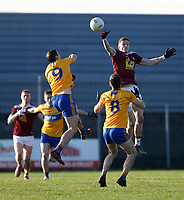 26th January 2020; TEG Cusack Park, Mullingar, Westmeath, Ireland; Allianz Football Division 2 Gaelic Football, Westmeath versus Clare; Ray Connellan (Westmeath) contests a high ball with Cathal O'Connor (Clare)