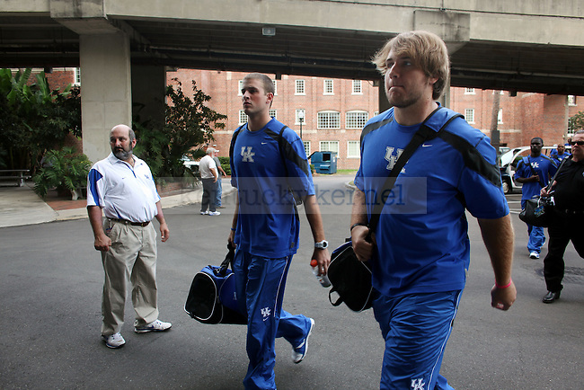 "Quarterback Mike Hartline walks to the locker room before the UK vs Florida football game at the ""Swamp"" on Saturday, Sept. 25, 2010 Photo by Britney McIntosh 