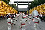 Marching band perform during the annual ''Mitama Festival'' at Yasukuni Shrine on July, 13, 2017, Tokyo, Japan. Over 30,000 lanterns are displayed along the entrance of the shrine to help spirits find their way during the annual celebration for the spirits of ancestors. The festival runs until July 16th. (Photo by Rodrigo Reyes Marin/AFLO)