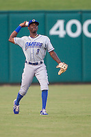 Omaha Storm Chasers center fielder Orlando Calixte (3) throws to 2nd during a game against the Oklahoma City Dodgers at Chickasaw Bricktown Ballpark on June 16, 2016 in Oklahoma City, Oklahoma. Oklahoma City defeated Omaha 5-4  (William Purnell/Four Seam Images)