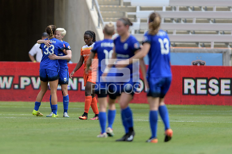 Houston, TX - Saturday May 27, 2017: Katie Johnson congratulates Megan Rapinoe on her goal during a regular season National Women's Soccer League (NWSL) match between the Houston Dash and the Seattle Reign FC at BBVA Compass Stadium.