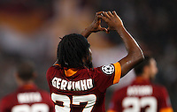Calcio, Champions League, Gruppo E: Roma vs CSKA Mosca. Roma, stadio Olimpico, 17 settembre 2014.<br /> Roma forward Gervinho, of Ivory Coast, celebrates after scoring during the Group E Champions League football match between AS Roma and CSKA Moskva at Rome's Olympic stadium, 17 September 2014.<br /> UPDATE IMAGES PRESS/Riccardo De Luca