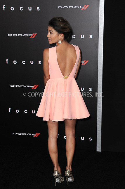 WWW.ACEPIXS.COM<br /> <br /> February 24 2015, New York City<br /> <br /> Jessica Szohr arriving at the premiere of 'Focus' at the TCL Chinese Theatre on February 24, 2015 in Hollywood, California.<br /> <br /> By Line: Peter West/ACE Pictures<br /> <br /> <br /> ACE Pictures, Inc.<br /> tel: 646 769 0430<br /> Email: info@acepixs.com<br /> www.acepixs.com