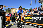Race leader Adam Yates (GBR) Mitchelton-Scott arrives at sign on before the start of Stage 5 of the Race of the Two Seas, the 54th Tirreno-Adriatico 2019, running 180km from Colli al Matauro to Recanati, Italy. 17th March 2019.<br /> Picture: LaPresse/Gian Mattia D'Alberto | Cyclefile<br /> <br /> <br /> All photos usage must carry mandatory copyright credit (© Cyclefile | LaPresse/Gian Mattia D'Alberto)