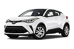 Stock pictures of low aggressive front three quarter view of 2020 Toyota C-HR LE 5 Door SUV Low Aggressive
