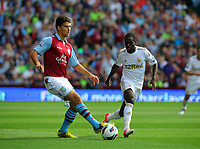 Saturday 15 September 2012<br /> Pictured: Nathan Dyer of Swansea (R) and Eric Lichaj of Aston Villa (L).<br /> Re: Barclay's Premier League, Aston Villa v Swansea City FC at Villa Park, West Midlands, UK.