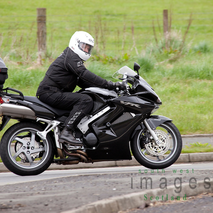 Motorcyclist stopped at roundabout on A75 near Dumfries Scotland