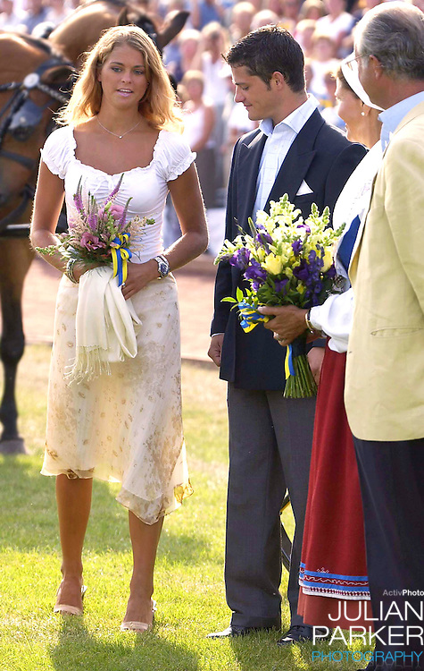 CONCERT IN BERGHOLM TO CELEBRATE CROWN PRINCESS VICTORIA.OF SWEDEN'S 25TH BIRTHDAY.  14/7/02 . PICTURE: UK PRESS  (ref 5105-20).PRINCESS MADELEINE OF SWEDEN.