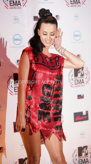 WWW.ACEPIXS.COM . . . . .  ..... . . . . US SALES ONLY . . . . .....November 7 2010, Madrid....Katy Perry at the MTV Europe Music Awards on November 7 2010 in Madrid....Please byline: FAMOUS-ACE PICTURES... . . . .  ....Ace Pictures, Inc:  ..Tel: (212) 243-8787..e-mail: info@acepixs.com..web: http://www.acepixs.com