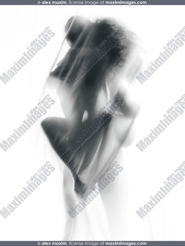 Sensual artistic portrait of a sexy nude couple making love, man holding a woman in his arms with her thighs around his waist, couple silhouettes behind sheer white fabric
