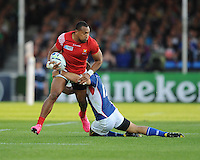 David Halaifonua of Tonga is tackled during Match 20 of the Rugby World Cup 2015 between Tonga and Namibia - 29/09/2015 - Sandy Park, Exeter<br /> Mandatory Credit: Rob Munro/Stewart Communications