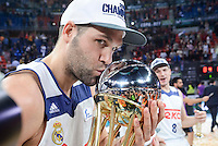 Real Madrid's Felipe Reyes with the cup during Quarter Finals match of 2017 King's Cup at Fernando Buesa Arena in Vitoria, Spain. February 19, 2017. (ALTERPHOTOS/BorjaB.Hojas)