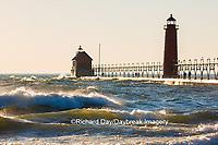 64795-01120 Grand Haven South Pier Lighthouse at sunset on Lake Michigan, Ottawa County, Grand Haven, MI