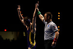 LA CROSSE, WI - MARCH 11: Logan Hermsen of Wisconsin-Stevens Point celebrates after defeating Stephen Jarrell of Johnson & Wales in the 165 weight class during NCAA Division III Men's Wrestling Championship held at the La Crosse Center on March 11, 2017 in La Crosse, Wisconsin. Hermsen beat Jarrell 4-2 to win the National Championship. (Photo by Carlos Gonzalez/NCAA Photos via Getty Images)