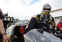 Mar. 12, 2012; Gainesville, FL, USA; NHRA top fuel dragster driver Tony Schumacher during the Gatornationals at Auto Plus Raceway at Gainesville. The race is being completed on Monday after rain on Sunday. Mandatory Credit: Mark J. Rebilas-