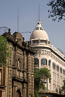 Contrasting colonial and 19th-century architecure in Mexico City's Cento Historico or Historical Center