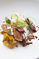 Europe/France/Bretagne/29/Finistère/Plomodiern: Volaille sur l'os, quelques légumes cru-cuit au blé noir, recette d' Olivier Bellin de l'Auberge des Glazicks