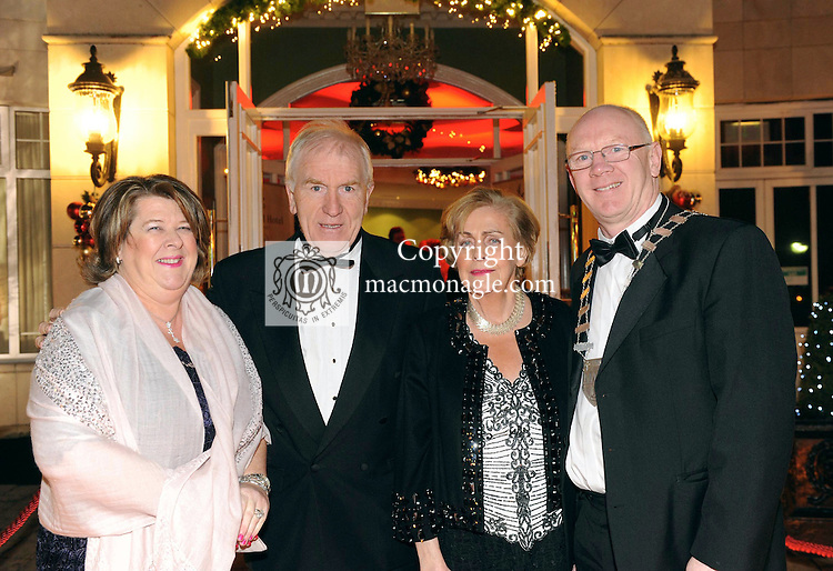 Bernadette Randles, The Dromhall Hotel Minister for the Diaspora Jimmy Deenihan, Kay Randles and John Brassil, Chairman, Kerry County Council pictured at the Kerry Branch of the Irish Hotels Federation annual ball in the Dromhall Hotel, Killarney.<br /> Picture by Don MacMonagle<br /> <br /> repro free photo from dromhall hotel