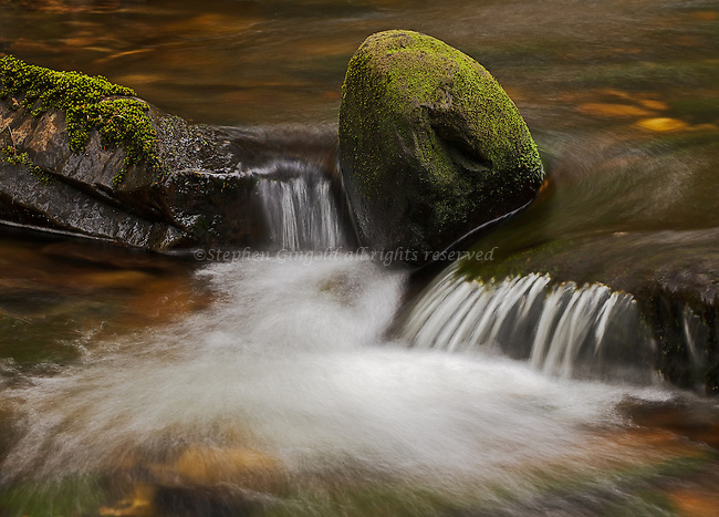 A mossy rock balances on the edge of a cascade in Atherton Brook in the Quabbin Watershed in Shutesbury, Massachusetts.