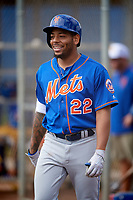 New York Mets Dominic Smith (22) walks to the on deck circle before an at bat during a Minor League Spring Training intrasquad game on March 29, 2018 at the First Data Field Complex in St. Lucie, Florida.  (Mike Janes/Four Seam Images)
