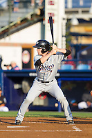 Joe Wendle (7) of the Akron Rubber Ducks at bat against the Reading Fightin Phils at FirstEnergy Stadium on June 19, 2014 in Wappingers Falls, New York.  The Rubber Ducks defeated the Fightin Phils 3-2.  (Brian Westerholt/Four Seam Images)