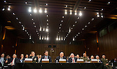 From left to right: Director Admiral Michael Rogers, Director of the National Security Agency (NSA); Director James Comey, Director of the Federal Bureau of Investigation (FBI); Director James Clapper, Director of National Intelligence (DNI); Director John Brennan, Director of the Central Intelligence Agency (CIA); and Director Lieutenant General Vincent Stewart, Director of the Defense Intelligence Agency (DIA) testify during an open hearing held by the US Senate Select Committee on Intelligence to examine worldwide threats on Capitol Hill in Washington, DC on Tuesday, February 9, 2016.<br /> Credit: Ron Sachs / CNP