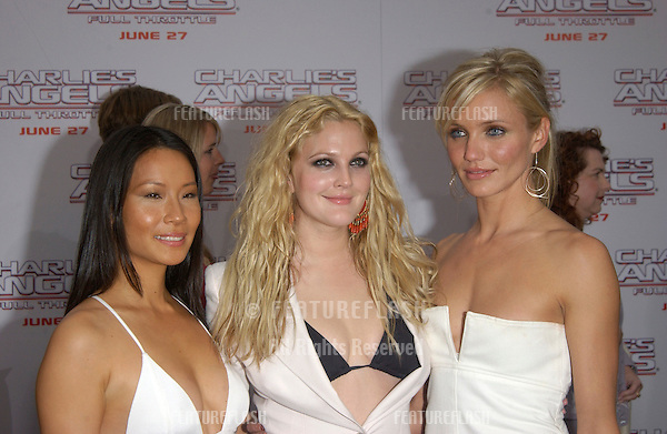 Actresses LUCY LIU (left), DREW BARRYMORE & CAMERON DIAZ at the Hollywood premiere of their new movie Charlie's Angels: Full Throttle..June 18, 2003.