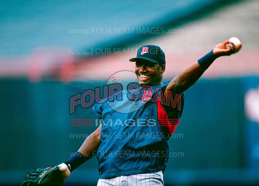 David Ortiz of the Minnesota Twins during a game at Anaheim Stadium in Anaheim, California during the 1997 season.(Larry Goren/Four Seam Images)