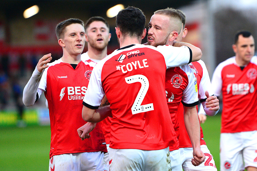 Fleetwood Town's Paddy Madden celebrates scoring his side's first goal with his team-mates<br /> <br /> Photographer Richard Martin-Roberts/CameraSport<br /> <br /> The EFL Sky Bet League One - Fleetwood Town v Portsmouth - Saturday 29th December 2018 - Highbury Stadium - Fleetwood<br /> <br /> World Copyright © 2018 CameraSport. All rights reserved. 43 Linden Ave. Countesthorpe. Leicester. England. LE8 5PG - Tel: +44 (0) 116 277 4147 - admin@camerasport.com - www.camerasport.com