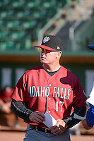 Idaho Falls Chukars manager Justin Gemoll (17) in the dugout before the game against the Ogden Raptors in Pioneer League action at Lindquist Field on June 23, 2015 in Ogden, Utah. Idaho Falls beat the Raptors 9-6. (Stephen Smith/Four Seam Images)