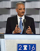 Former United States Attorney General Eric Holder makes remarks during the second session of the 2016 Democratic National Convention at the Wells Fargo Center in Philadelphia, Pennsylvania on Tuesday, July 26, 2016.<br /> Credit: Ron Sachs / CNP<br /> (RESTRICTION: NO New York or New Jersey Newspapers or newspapers within a 75 mile radius of New York City)