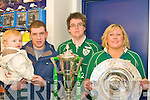 GRAND SLAM: The staff of O2 Tralee and Killarney with the Grand Slam and Treble Crown trophies at O2 shop in the Square, Tralee on Sunday l-r: Danny Caffery, Brendan Caffery (manager O2 Killarney), David O'Connor and Sharon O'Mahony (manager O2 Tralee).