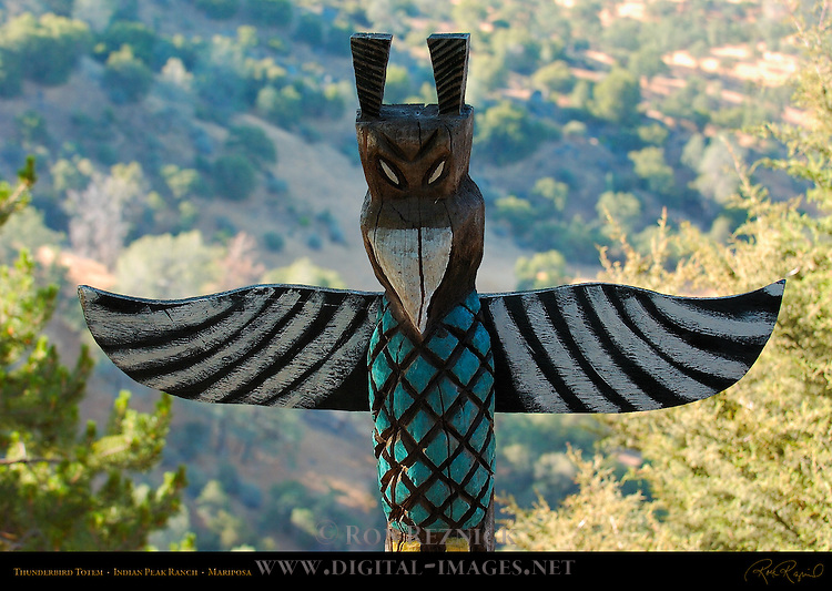 Yellow Foot Thunderbird Totem, Indian Peak Ranch, Mariposa, California