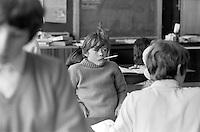 Class scene, Whitworth Comprehensive School, Whitworth, Lancashire.  1970.