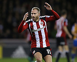 Matt Done of Sheffield Utd reacts to a saved shot during the English League One match at the Bramall Lane Stadium, Sheffield. Picture date: November 19th, 2016. Pic Simon Bellis/Sportimage