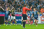 Solna 2015-08-10 Fotboll Allsvenskan AIK - Djurg&aring;rdens IF :  <br /> Djurg&aring;rdens Emil Bergstr&ouml;m och Stefan Stenman reagerar efter att domare Markus Str&ouml;mbergsson d&ouml;mt bort ett m&aring;l f&ouml;r Djurg&aring;rden i den f&ouml;rsta halvleken under matchen mellan AIK och Djurg&aring;rdens IF <br /> (Foto: Kenta J&ouml;nsson) Nyckelord:  AIK Gnaget Friends Arena Allsvenskan Djurg&aring;rden DIF