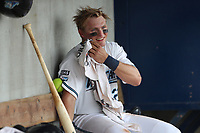 West Michigan Michigan Whitecaps designated hitter Cam Gibson (23) in the dugout against the Fort Wayne TinCaps during the Midwest League baseball game on April 26, 2017 at Fifth Third Ballpark in Comstock Park, Michigan. West Michigan defeated Fort Wayne 8-2. (Andrew Woolley/Four Seam Images via AP Images)