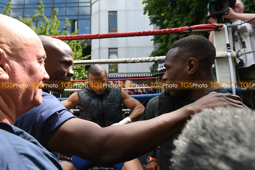 Chris Eubank (L) and Nathaniel Wilson during a Public Work Out at ITV Head Office on 12th July 2017