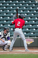 Corey Ray (2) of the Carolina Mudcats at bat against the Winston-Salem Dash at BB&T Ballpark on May 21, 2017 in Winston-Salem, North Carolina.  The Mudcats defeated the Dash 3-0 in 10 innings.  (Brian Westerholt/Four Seam Images)