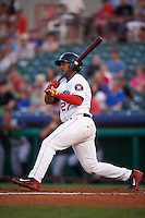 Tri-City ValleyCats first baseman Dexture McCall (27) at bat during a game against the Brooklyn Cyclones on September 1, 2015 at Joseph L. Bruno Stadium in Troy, New York.  Tri-City defeated Brooklyn 5-4.  (Mike Janes/Four Seam Images)