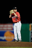 Batavia Muckdogs relief pitcher Zach Wolf (38) gets ready to deliver a pitch during a game against the West Virginia Black Bears on July 3, 2018 at Dwyer Stadium in Batavia, New York.  Batavia defeated West Virginia 5-4.  (Mike Janes/Four Seam Images)